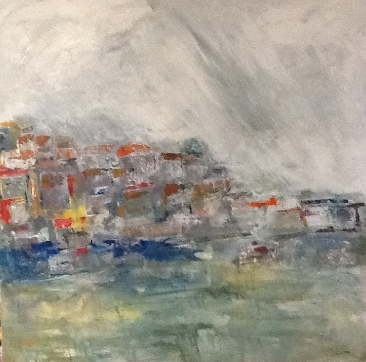 Harbour II - mixed media on canvas - 100cm x 100cm
